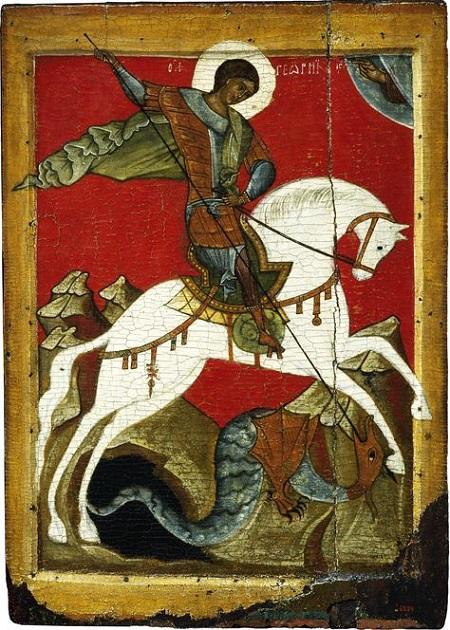 Petite nouvelle russes - Icône St Georges terrassant le Dragon
