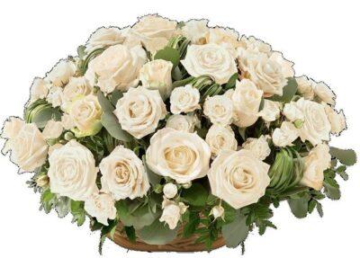 Petites nouvelles russes - Blocus de Léningrad - corbeille de roses blanches