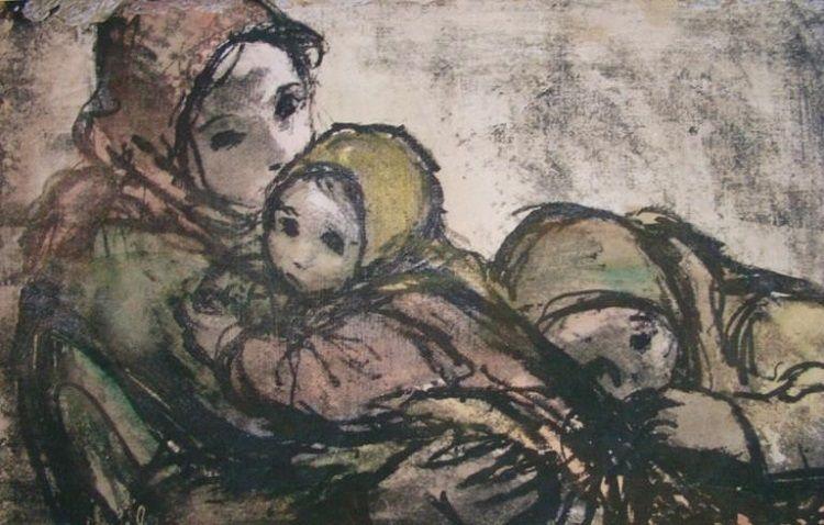 Petites nouvelles russes - Blocus de Léningrad - Dessin - Une mère et ses enfants